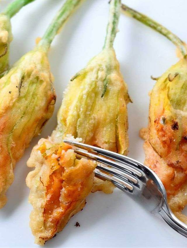 Fried squash blosoms