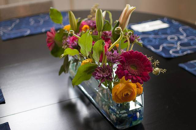 Flowers in a Long Container