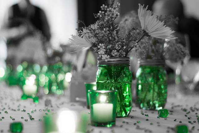 Green Ornaments with Grey Background