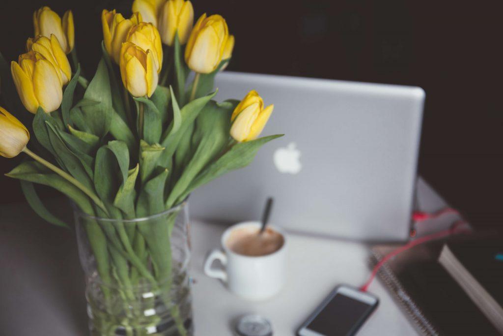 Yellow Tulips in desk