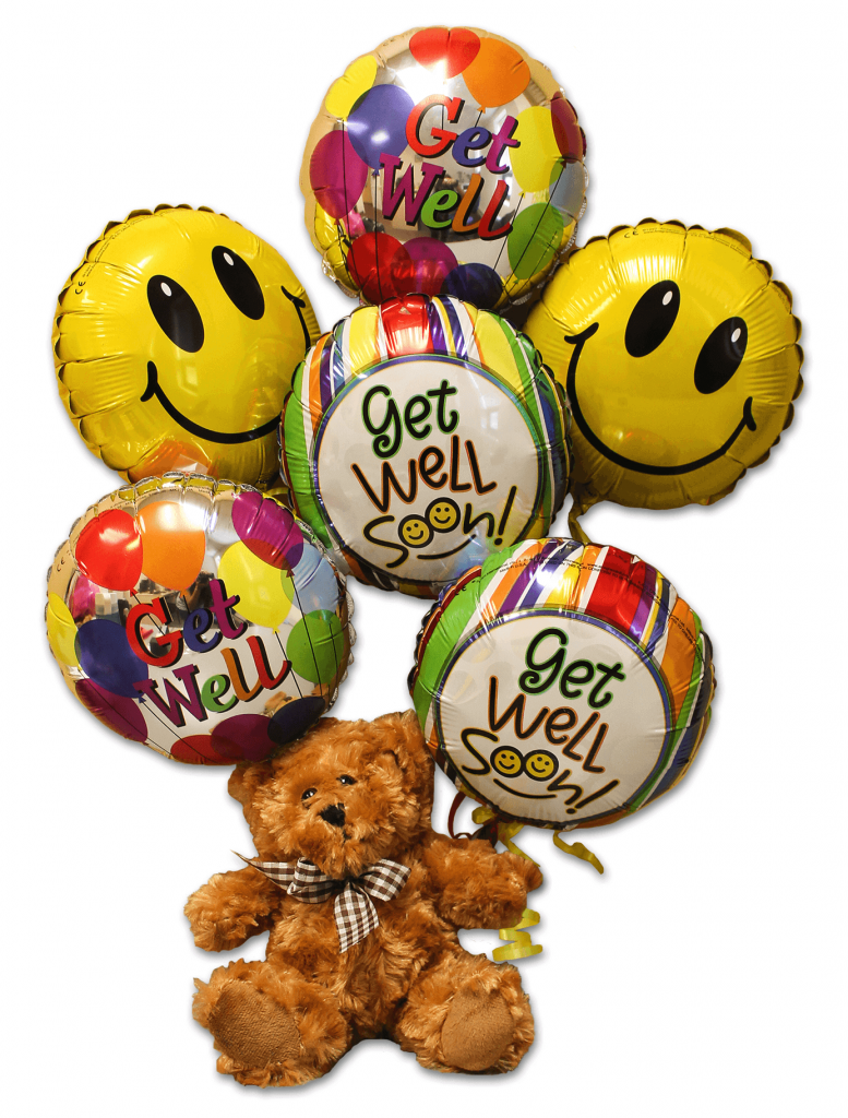 Avas teddy bear with mylar balloons