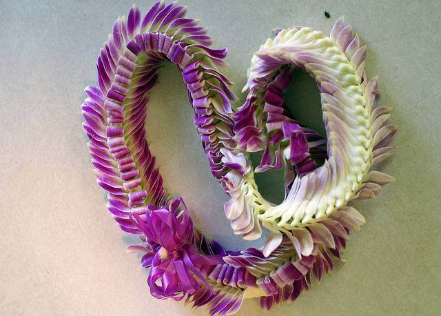 Purple & White Leis