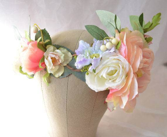 Peach Themed Flower Crown