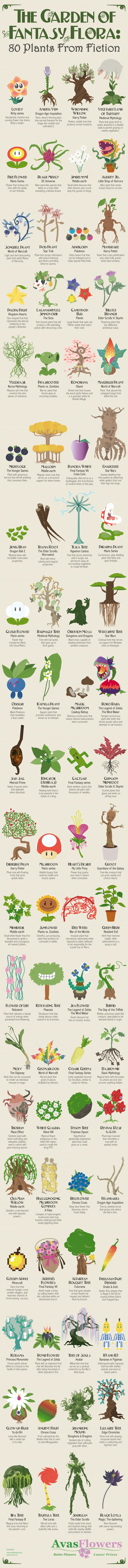 The Garden of Fantasy Flora: 80 Plants From Fiction - Avasflowers.net - Infographic