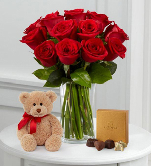 1 Dozen Long Stem Red Roses with Bear & Godiva® - VASE INCLUDED