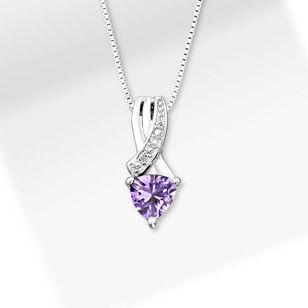 Amethyst Trillion Pendant with Silver Necklace