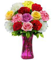 Assorted Color Rose and Carnation Mix - Farm Fresh