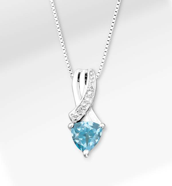 Blue Topaz Trillion Pendant with Silver Necklace