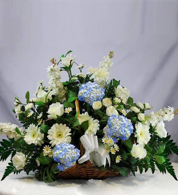 Blue & White Sympathy Fireside Basket