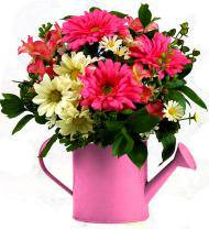 Bold Pink Watering Can Arrangement