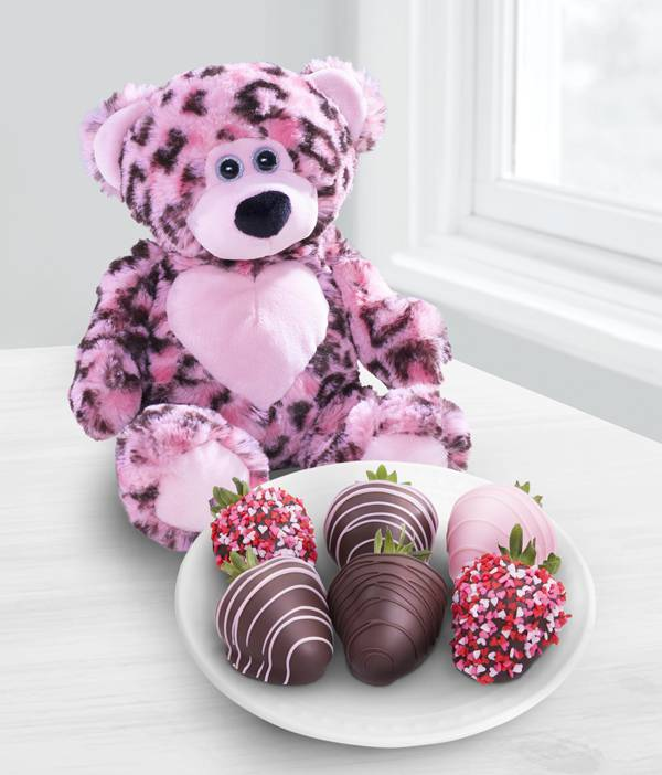 Chocolate Dip Delights Strawberries & Bear