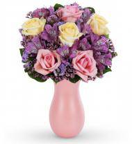 Pastel Roses and Alstroemeria Bouquet
