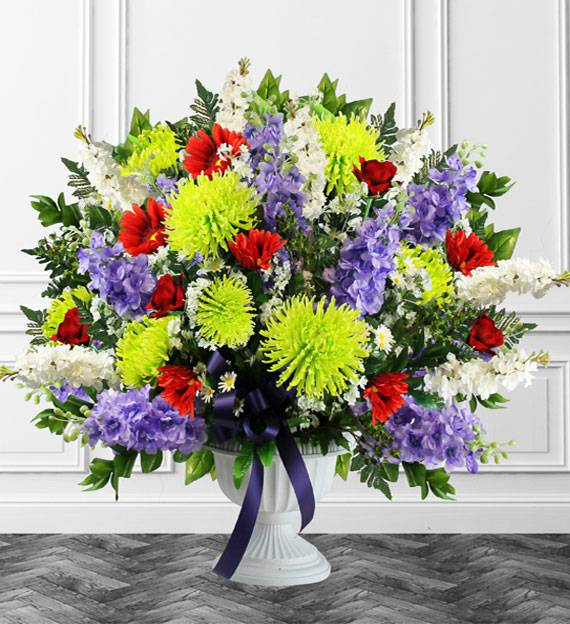 Colorful Sympathy Floor Basket