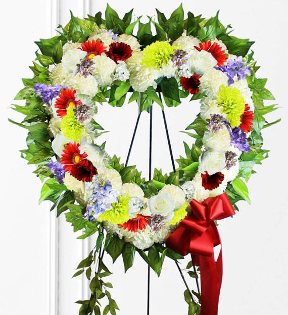 Colorful Sympathy Heart Wreath