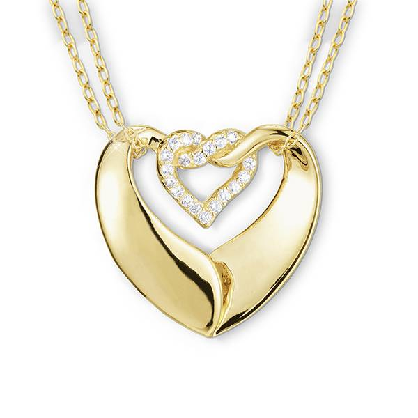 Double Heart Pendant with Cubic Zirconia
