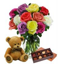 Dozen Assorted Color Roses, Bear & Chocolates