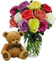 Dozen Assorted Color Roses & Bear