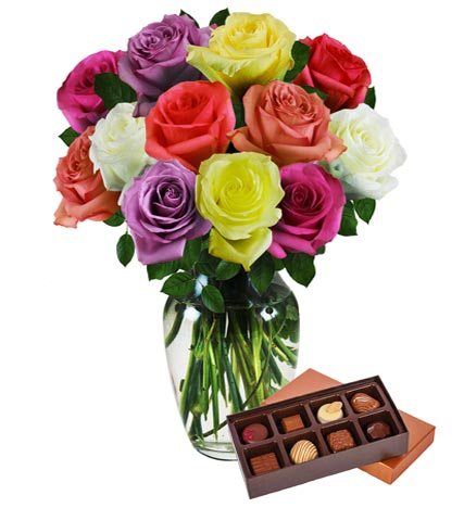 Dozen Assorted Color Roses & Chocolates
