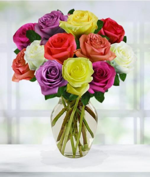 Flowers:_One_Dozen_Assorted_Roses