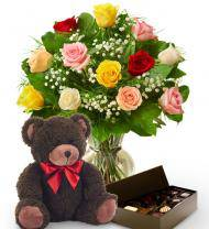 Dozen Mother's Day Roses, Bear & Chocolates