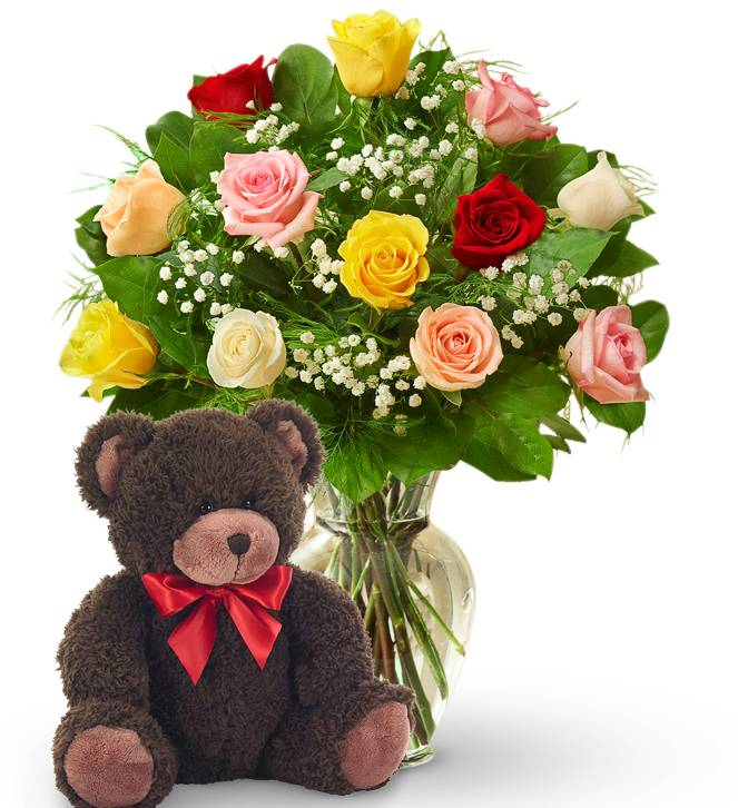 Dozen Mother's Day Roses & Bear