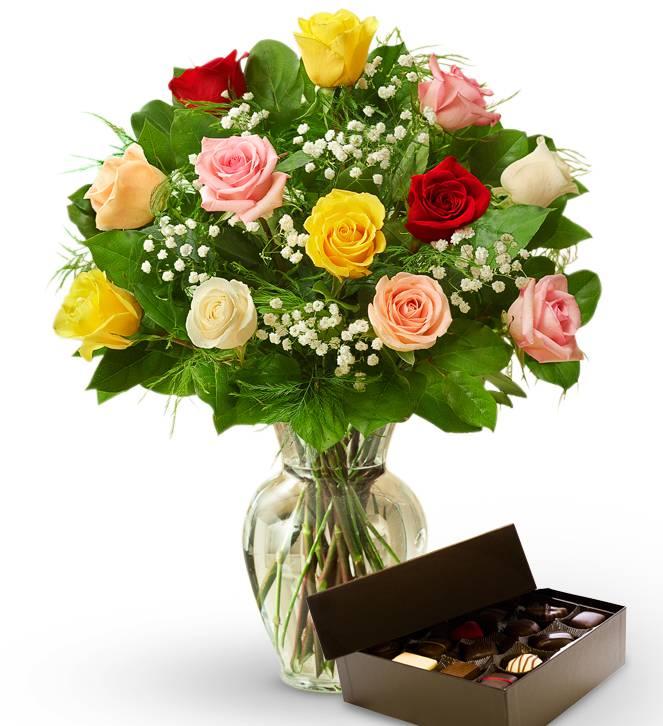 Dozen Mother's Day Roses & Chocolates