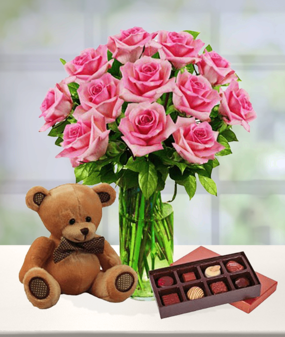 12 Pink Roses, Bear & Chocolates