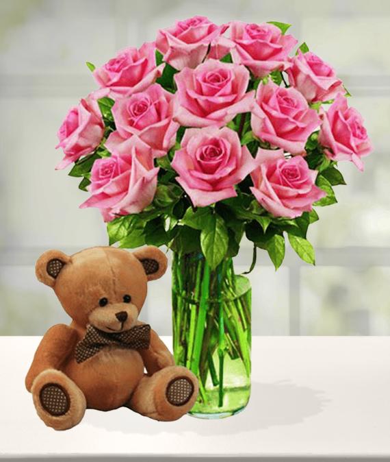 12 Pink Roses & Bear