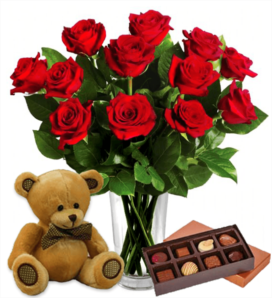 Dozen Red Roses, Bear & Chocolates