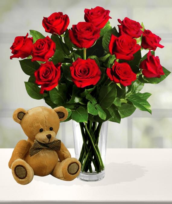 Dozen Red Roses & Bear