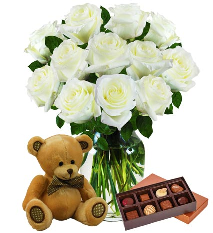 12 White Roses, Bear & Chocolates