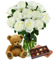 Dozen White Roses, Bear & Chocolates
