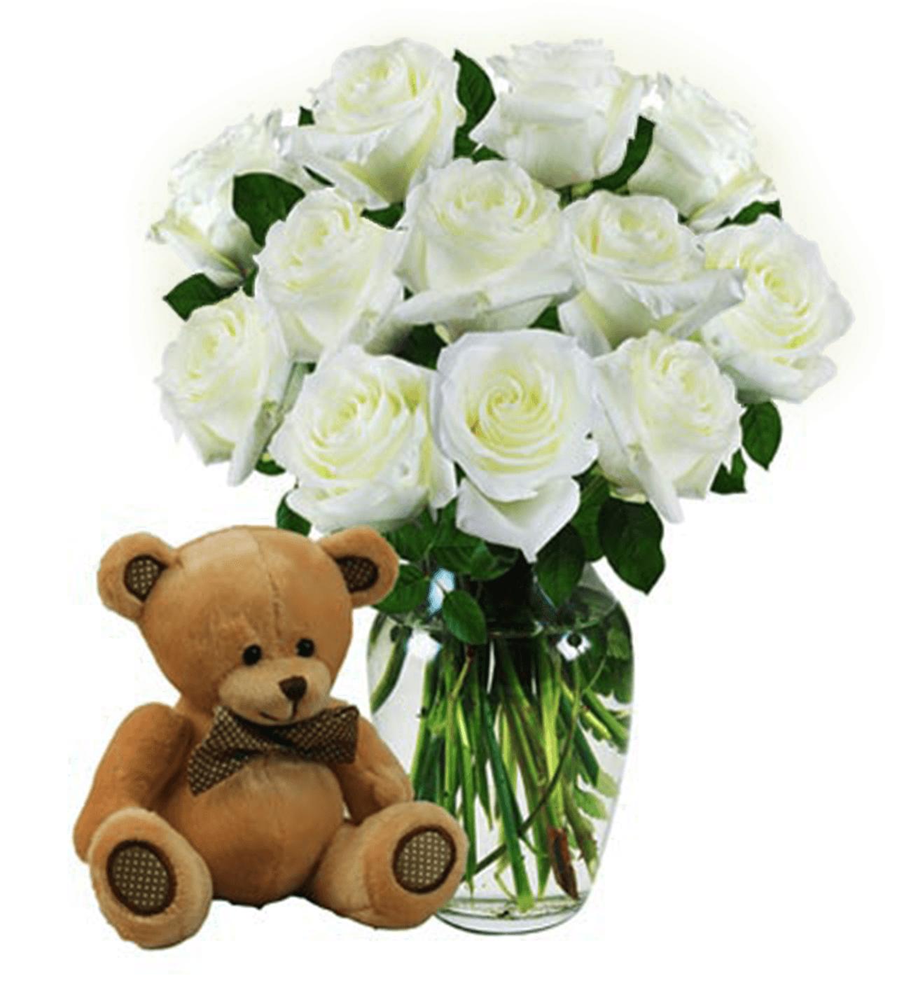 Dozen White Roses & Bear
