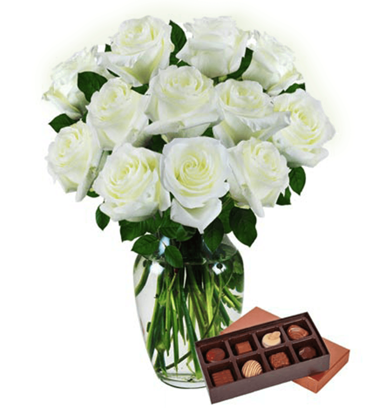 Dozen White Roses & Chocolates