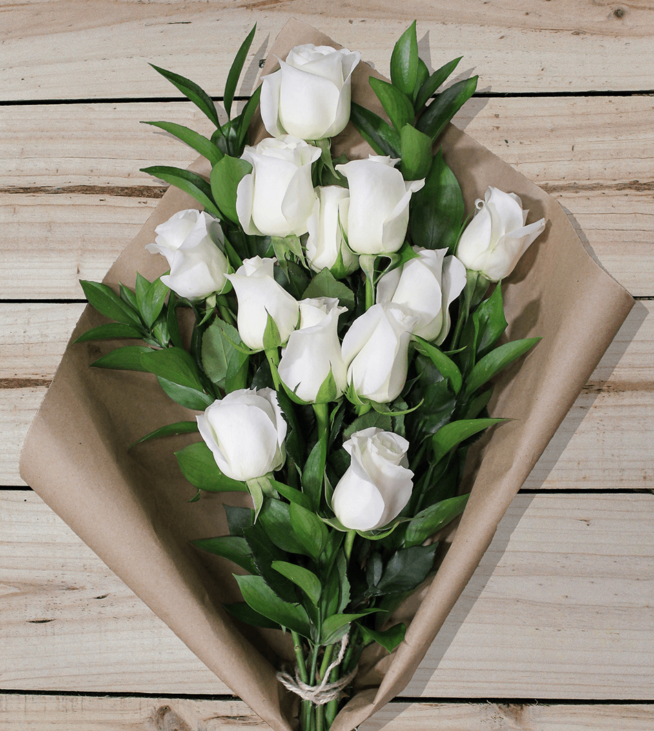 12 White Roses - Farm Fresh