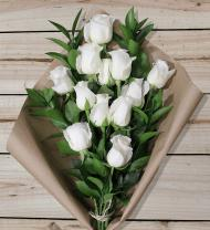 12 White Roses - Farm Fresh