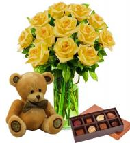 Dozen Yellow Roses, Bear & Chocolates