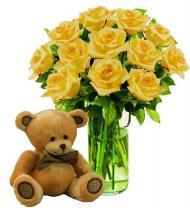 12 Yellow Roses & Bear