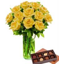 12 Yellow Roses & Chocolates