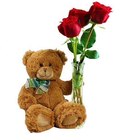 Flowers:_Bud_Vase_With_Three_Roses_And_Teddy_Bear