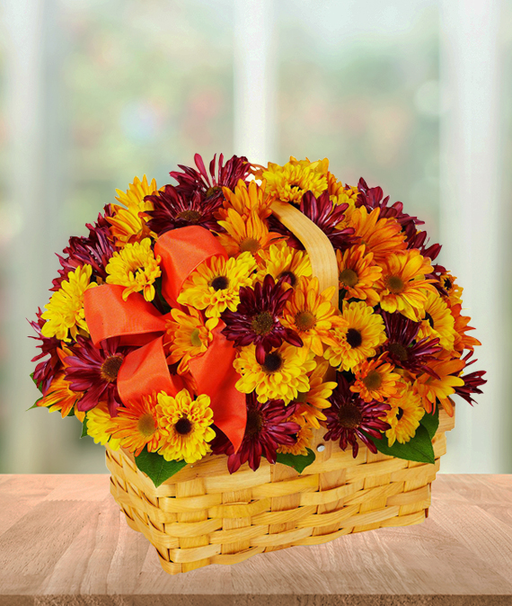 Amber Basket of Daisies