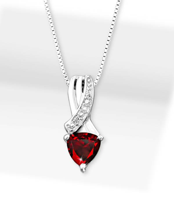 Garnet Trillion Pendant with Silver Necklace