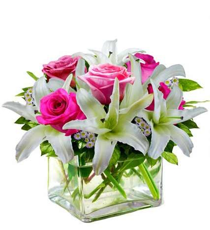 Flowers:_Mixed_Rose_And_Lily_Cube_Vase_Arrangement_-_Deluxe
