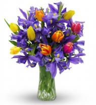 Happy Easter Iris and Tulips Bouquet