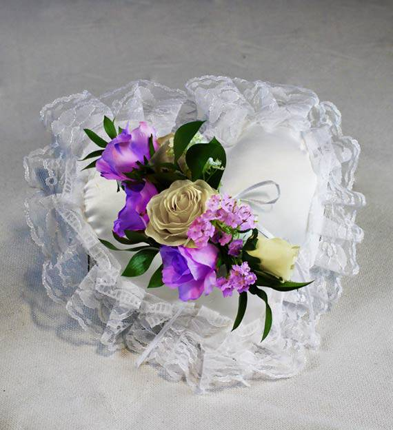 Lavender Satin Heart Pillow
