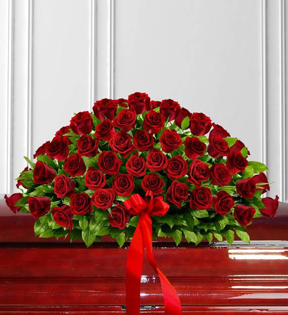 Timeless Red Rose Casket Spray