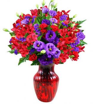 Lovely Red and Lavender Bouquet