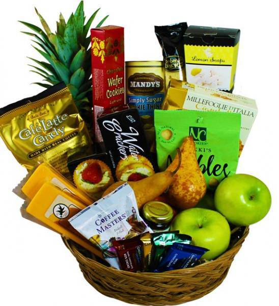 Flowers: Assorted Fruits And Snacks Basket - Standard