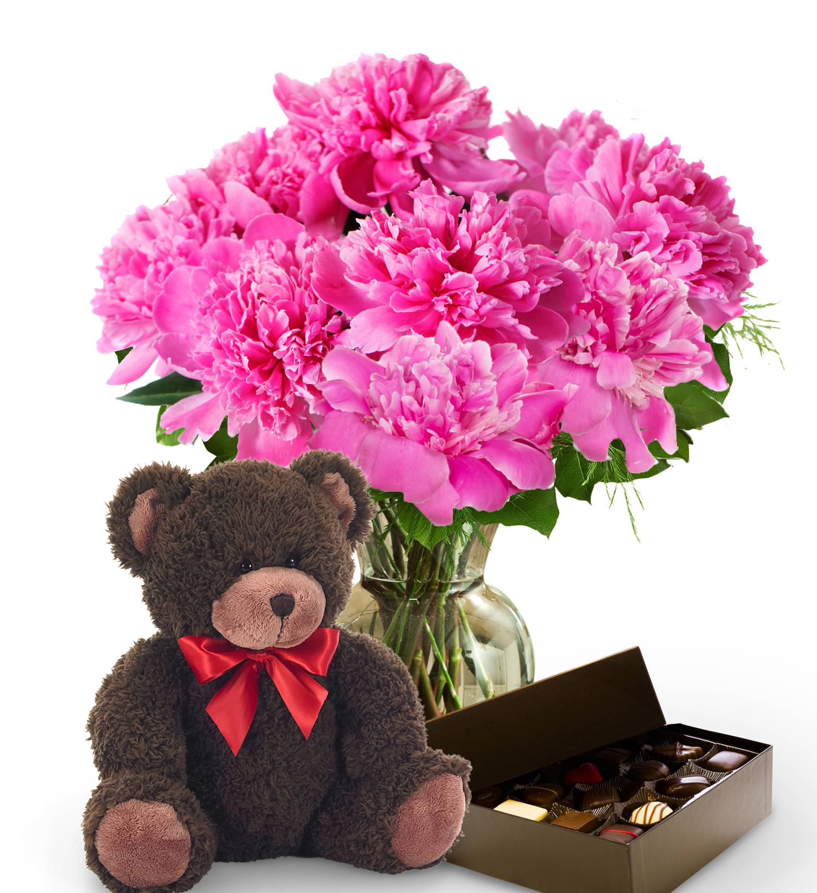 Mother's Day Peony Bouquet, Bear & Chocolates