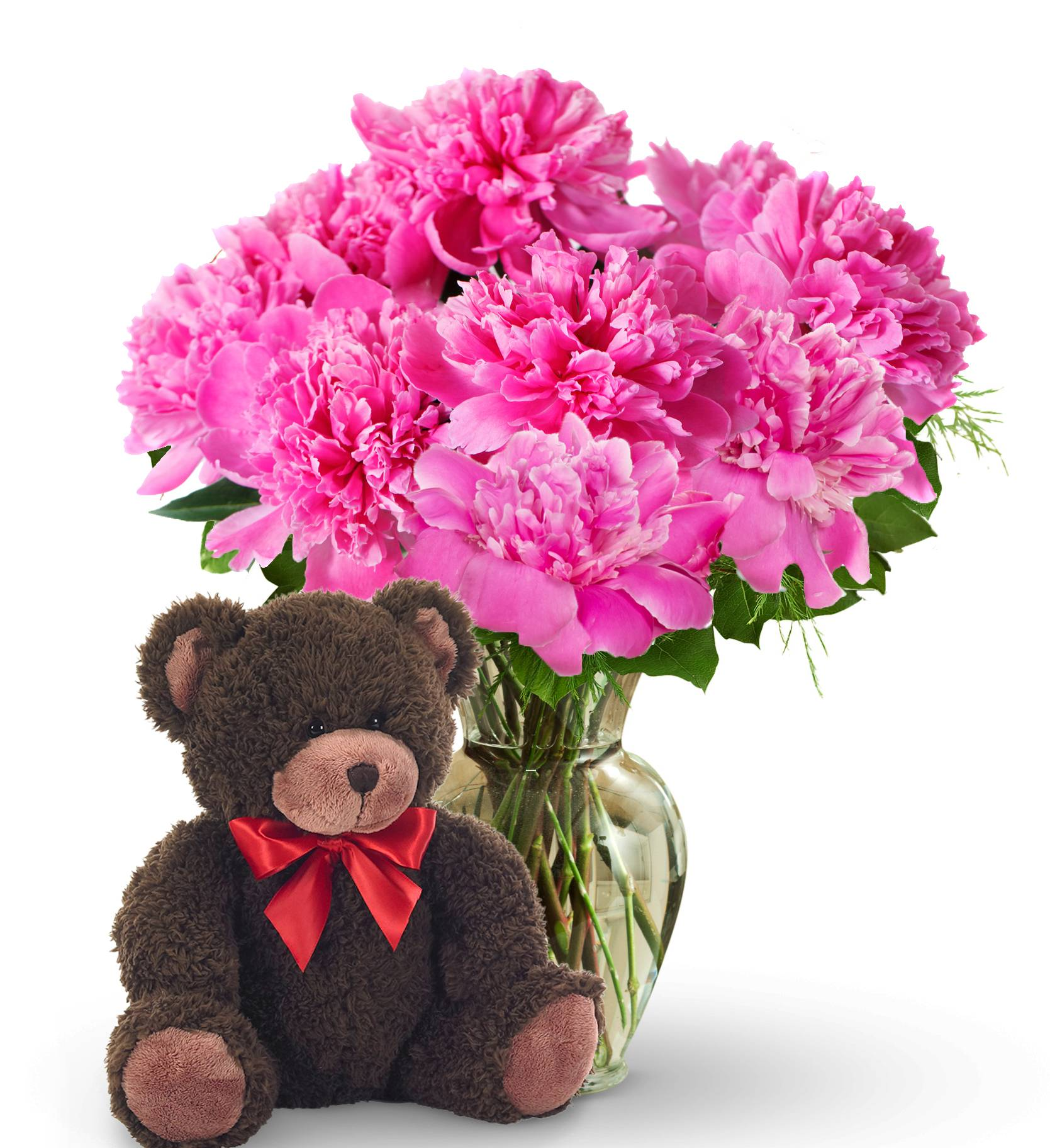 Mother's Day Peony Bouquet & Bear